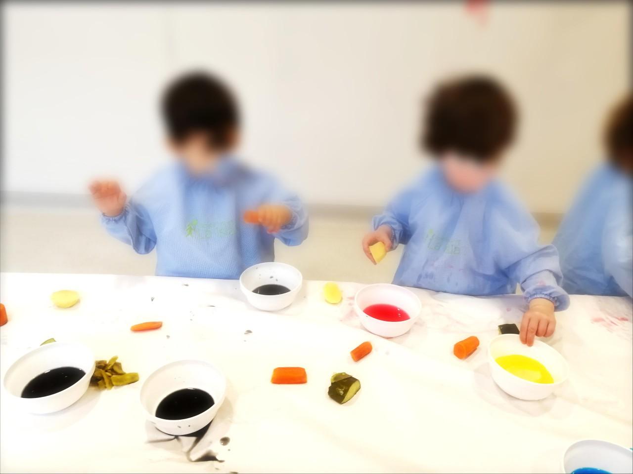 Pintura con verduras... Taller expresión